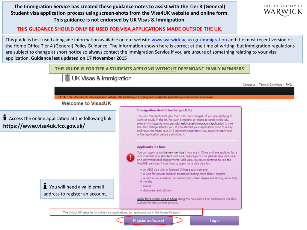 The Immigration Service Has Created These Guidance Notes To Assist Student Visa Application Process Using Screen Shots From The Visa4uk Website