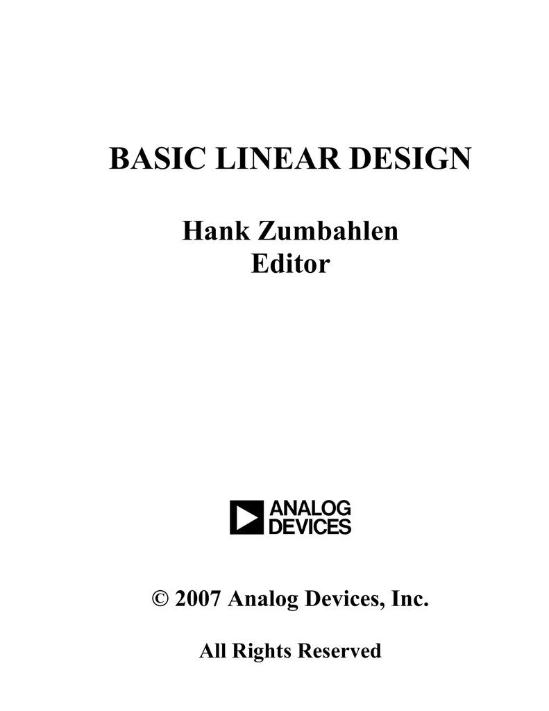 Hank zumbahlen basic linear design analog devices