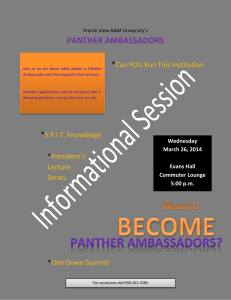 PANTHER AMBASSADORS  * Can YOU Run This Institution