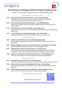 The Chemistry and Biology of Natural Products Symposium VIII Thursday, 5