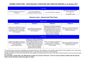 DEGREE STRUCTURE - QP36 ENGLISH LITERATURE AND CREATIVE WRITING as...  First Year