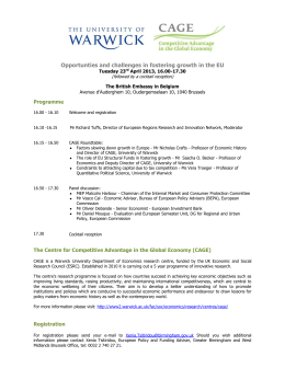 Opportunties and challenges in fostering growth in the EU  Programme Tuesday 23
