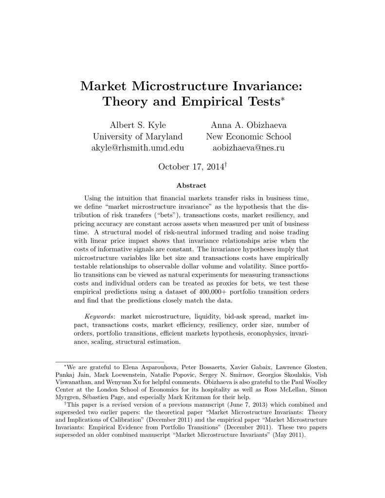 Empirical Market Microstructure Hasbrouck Pdf