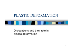 PLASTIC DEFORMATION Dislocations and their role in plastic deformation 1