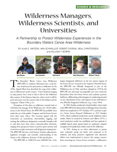 T Wilderness Managers, Wilderness Scientists, and Universities