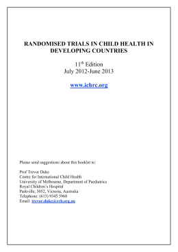 RANDOMISED TRIALS IN CHILD HEALTH IN DEVELOPING COUNTRIES  11