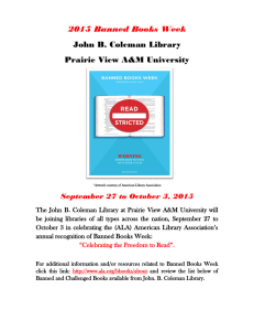 2015 Banned Books Week John B. Coleman Library Prairie View A&M University
