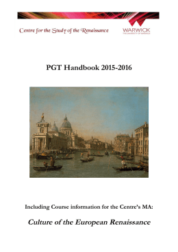 Culture of the European Renaissance PGT Handbook 2015-2016