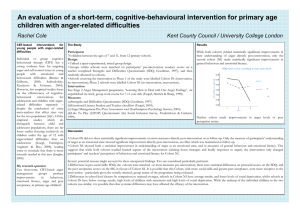 An evaluation of a short-term, cognitive-behavioural intervention for primary age