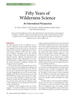 Fifty Years of Wilderness Science An International Perspective INTERNATIONAL PERSPECTIVES