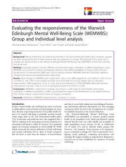 Evaluating the responsiveness of the Warwick Edinburgh Mental Well-Being Scale (WEMWBS):