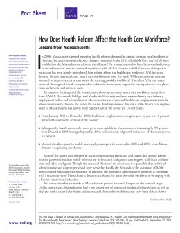 I How Does Health Reform Affect the Health Care Workforce? Fact sheet