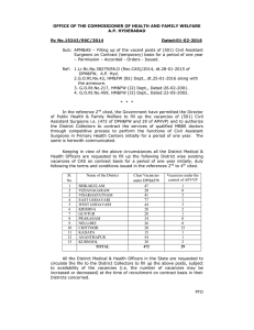 OFFICE OF THE COMMISSIONER OF HEALTH AND FAMILY WELFARE A.P. HYDERABAD Dated:01-02-2016