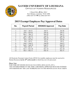 XAVIER UNIVERSITY OF LOUISIANA 2015 Exempt Employee Pay/Approval Dates No.