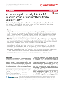 Abnormal septal convexity into the left ventricle occurs in subclinical hypertrophic cardiomyopathy