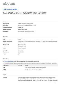 Anti-SCGF antibody [MM0533-6D5] ab90238 Product datasheet Overview Product name