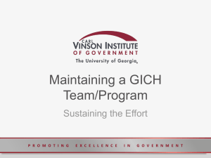 Maintaining a GICH Team/Program Sustaining the Effort