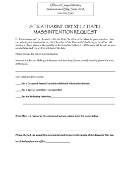ST. KATHARINE DREXEL CHAPEL MASS INTENTION REQUEST