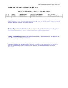 DEPARTMENT EMERGENCY PLANS – , DATE FACULTY AND STAFF CONTACT INFORMATION