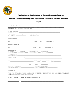 Application for Participation in Student Exchange Program