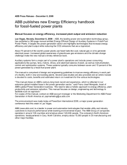 ABB publishes new Energy Efficiency handbook for fossil-fueled power plants
