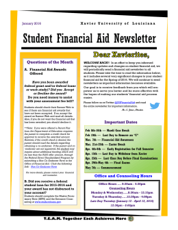 Student Financial Aid Newsletter Questions of the Month