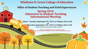 Whitlowe R. Green College of Education Spring 2016 Admission to Student Teaching