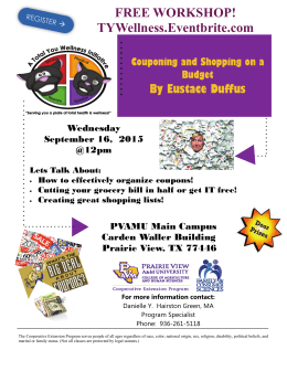 FREE WORKSHOP! TYWellness.Eventbrite.com By Eustace Duffus Couponing and Shopping on a