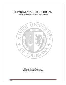 DEPARTMENTAL HIRE PROGRAM Handbook for Student-Employee Supervisors Office of Human Resources