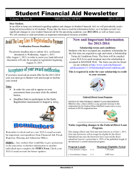 Student Financial Aid Newsletter