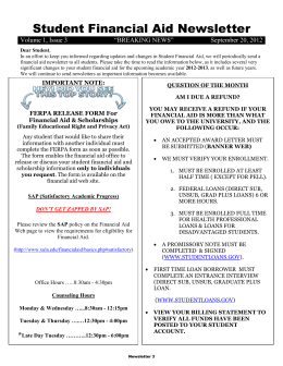Student Financial Aid Newsletter  September 20, 2012