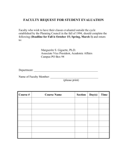 FACULTY REQUEST FOR STUDENT EVALUATION