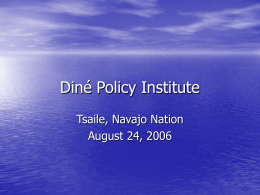 Diné Policy Institute Tsaile, Navajo Nation August 24, 2006