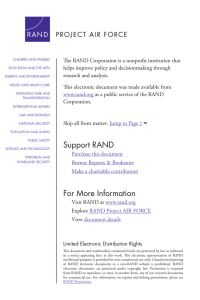 The RAND Corporation is a nonprofit institution that research and analysis.
