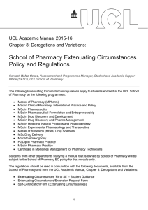 School of Pharmacy Extenuating Circumstances Policy and Regulations  UCL Academic Manual 2015-16