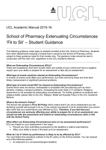 School of Pharmacy Extenuating Circumstances 'Fit to Sit' – Student Guidance