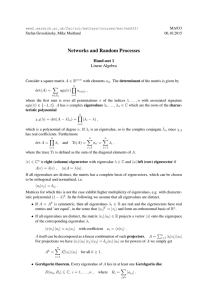 Networks and Random Processes Hand-out 1 Linear Algebra