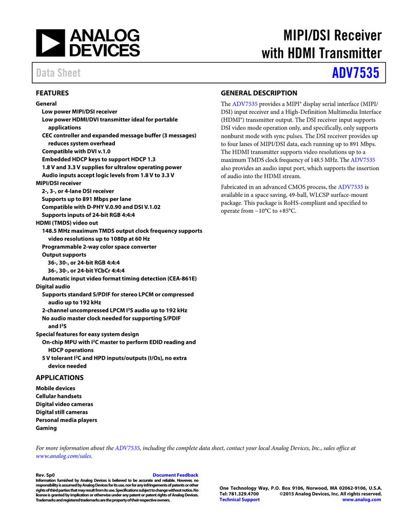 MIPI/DSI Receiver with HDMI Transmitter ADV7535 Data Sheet