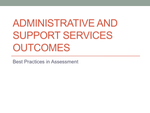 ADMINISTRATIVE AND SUPPORT SERVICES OUTCOMES Best Practices in Assessment
