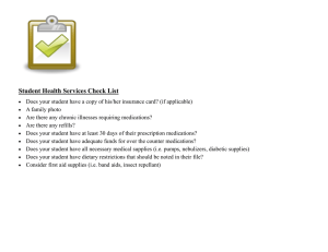 Student Health Services Check List