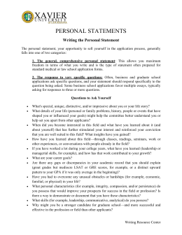 PERSONAL STATEMENTS Writing the Personal Statement