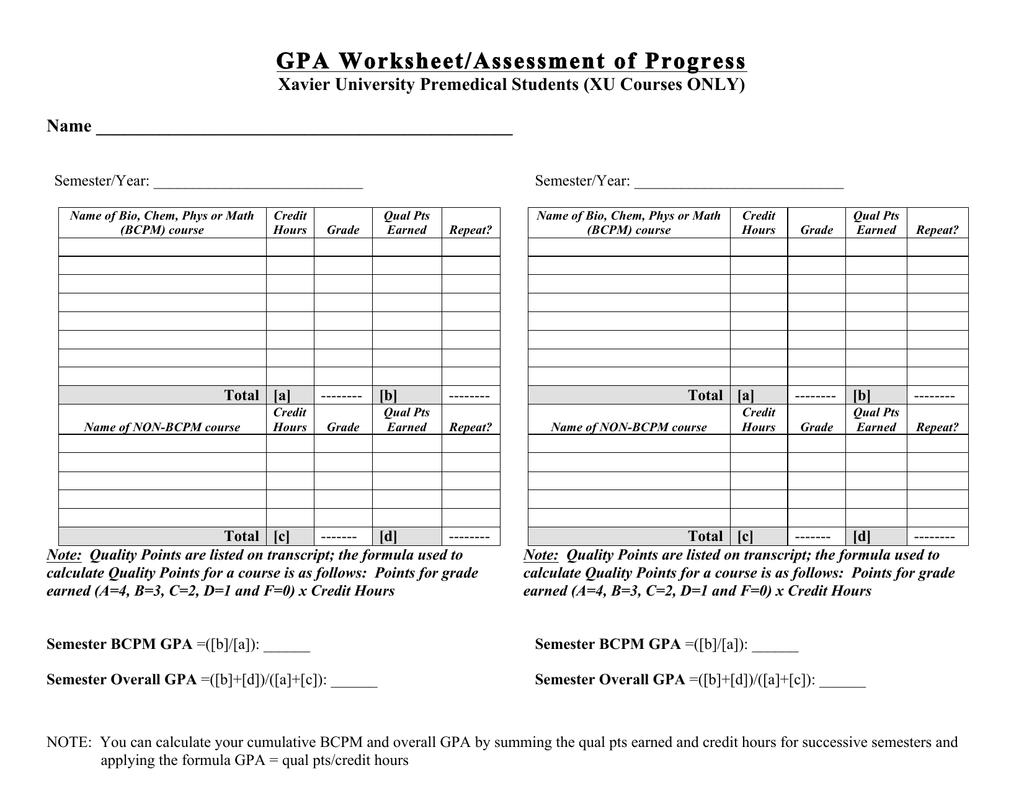 GPA Worksheet/Assessment of Progress