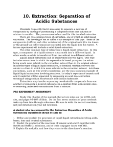 10. Extraction: Separation of Acidic Substances