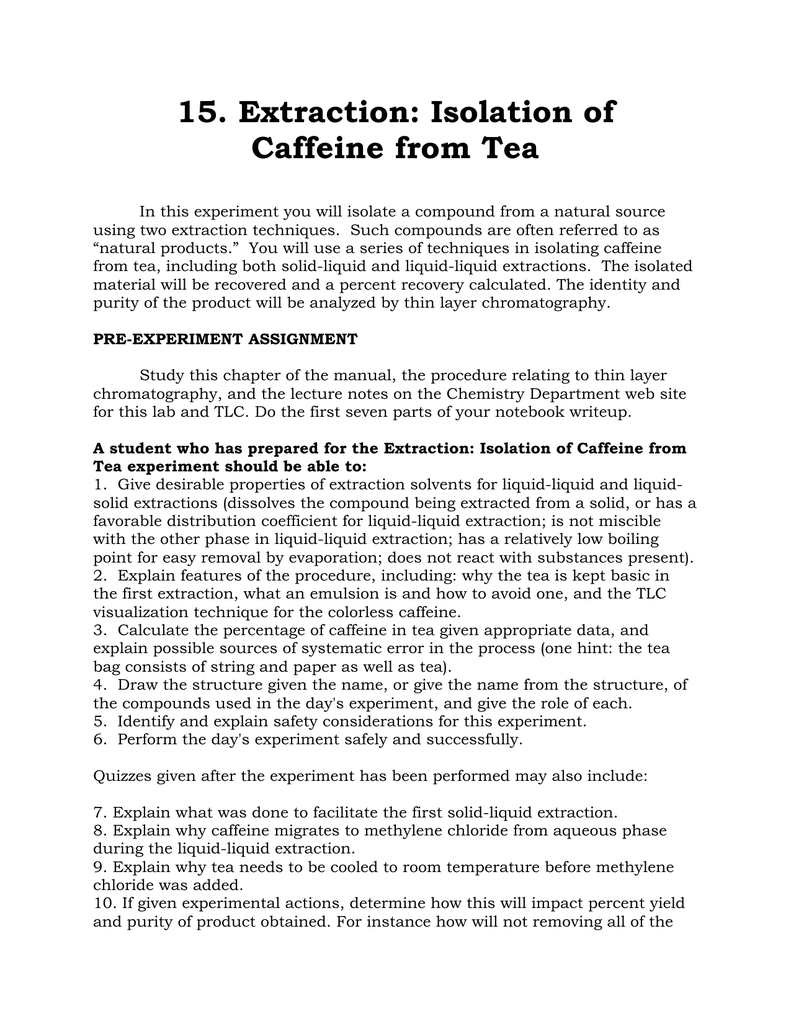 extraction of caffeine from tea lab report conclusion