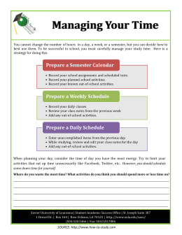 Managing Your Time