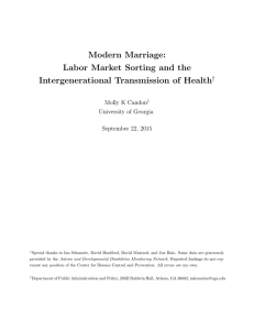 Modern Marriage: Labor Market Sorting and the Intergenerational Transmission of Health †
