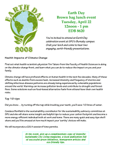 Earth Day Brown bag lunch event Tuesday, April 22 12noon - 1 pm