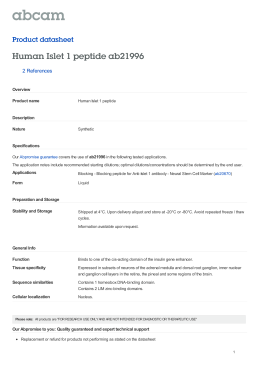 Human Islet 1 peptide ab21996 Product datasheet 2 References Overview