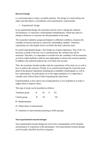 Research design study type (descriptive, correlational, semi-experimental, experimental)