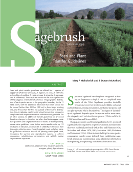S agebrush Seed and Plant Transfer Guidelines